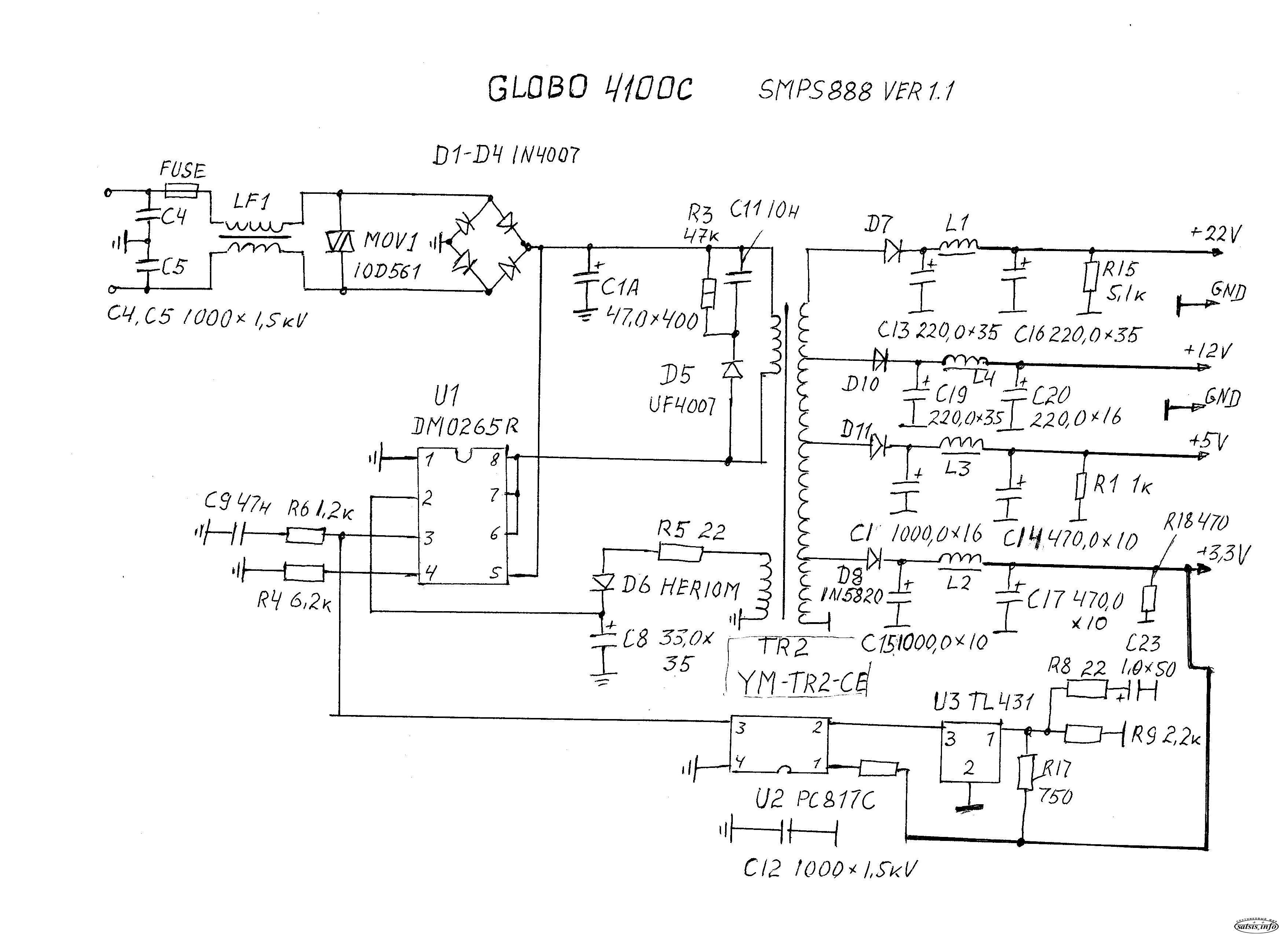 монтажная схема бп для golden interstar 8001