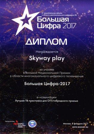 Приставка Skyway Play вошла в тройку лучших медиаплееров для IPTV/OTT телевидения в России.