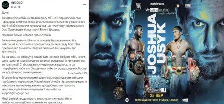 Медиасервис Megogo вернёт деньги тем, кто не смог посмотреть бой Усик-Джошуа